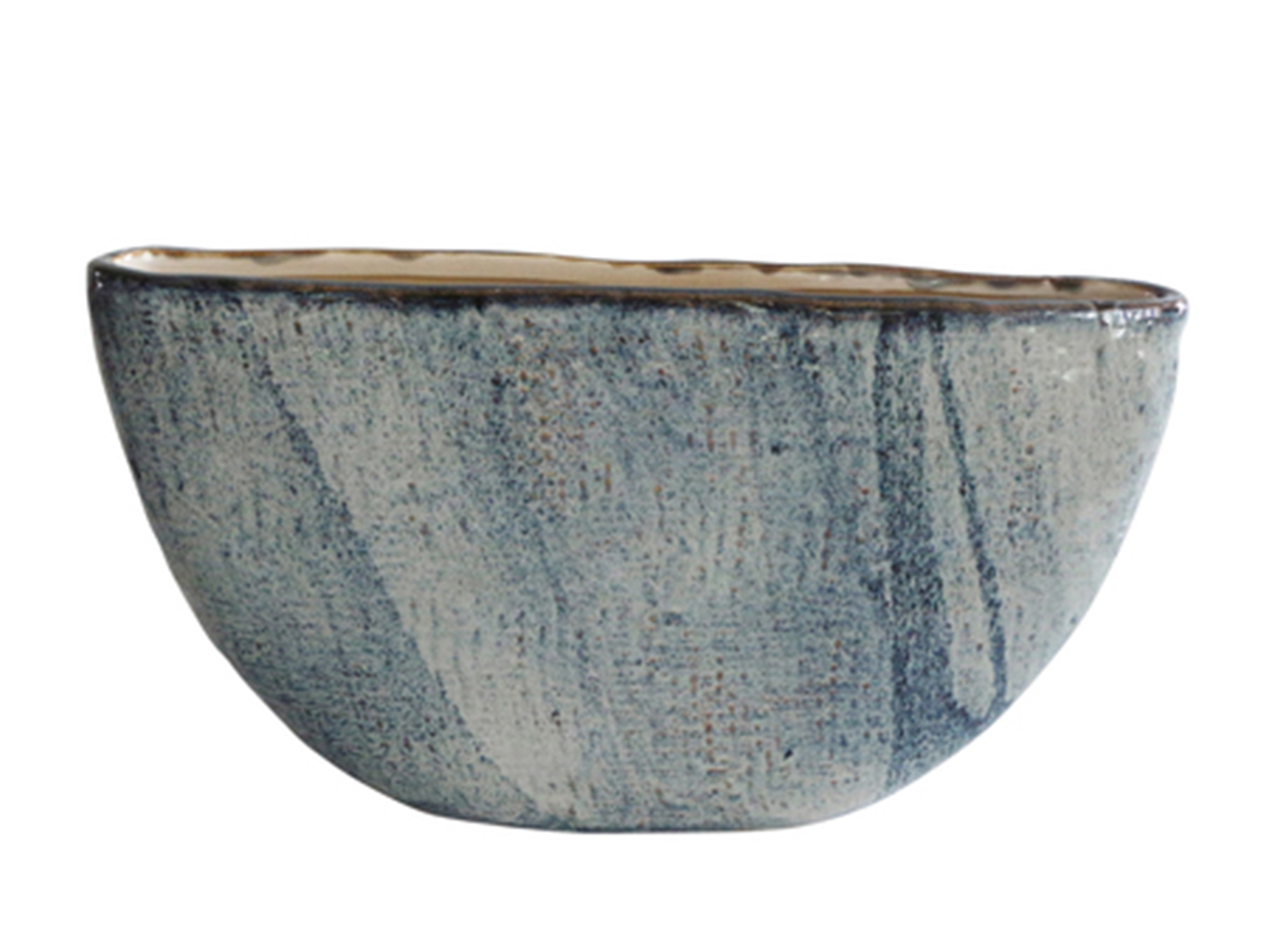 "Small Blue Ceramic Planter 18""W x 10""H"