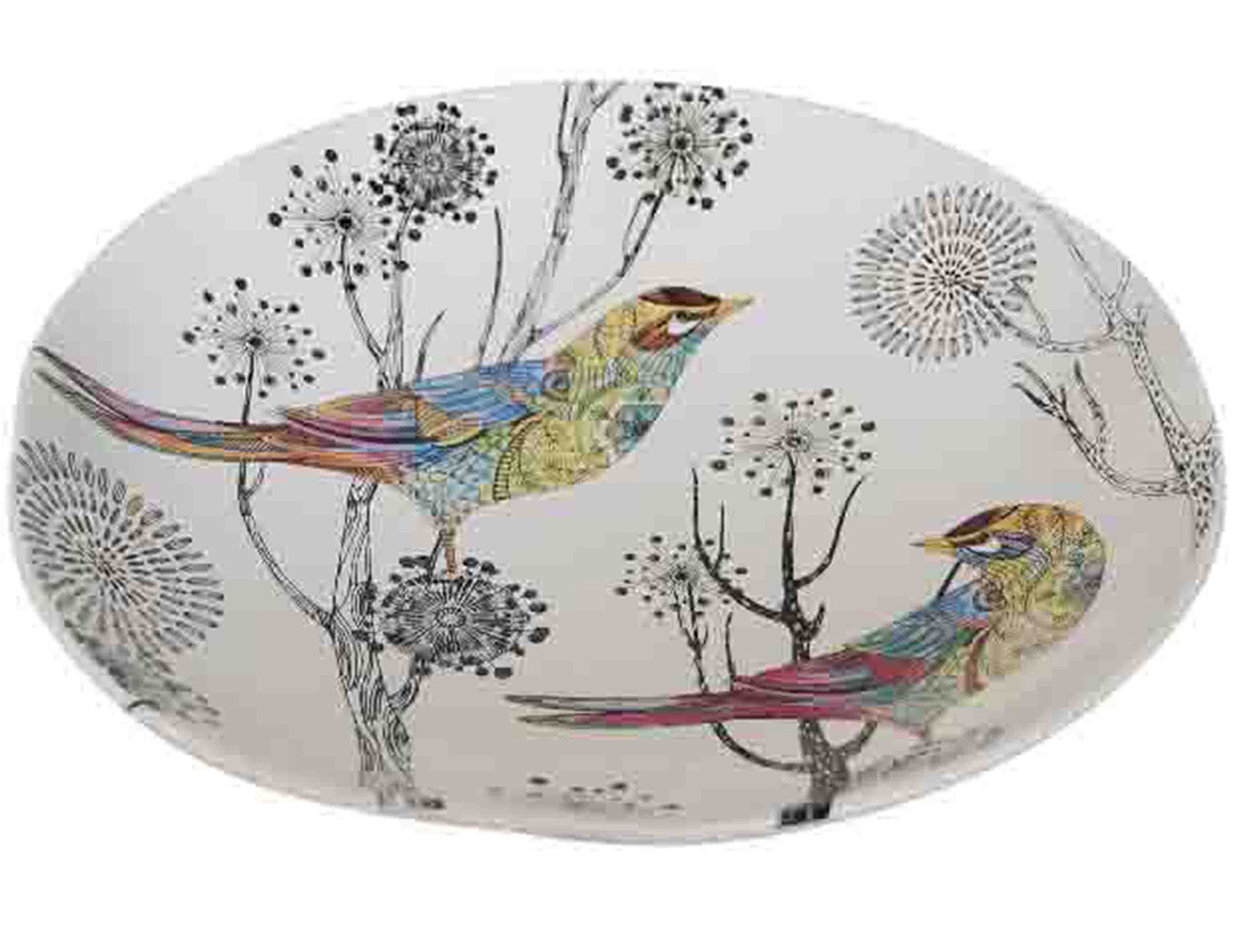 Colorful Bird Plate 15""
