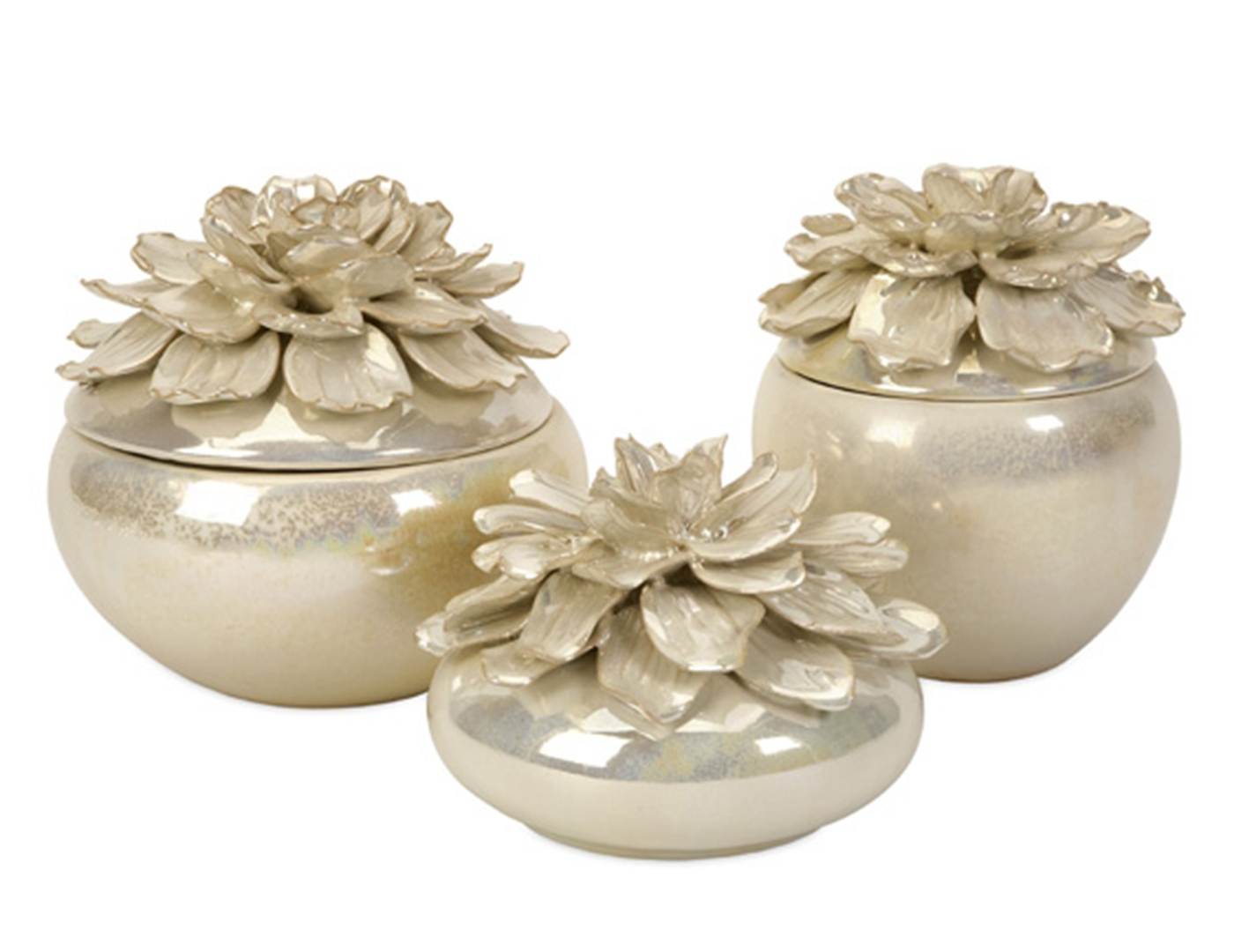 Set of Three Pearl Flower Lidded Bowls