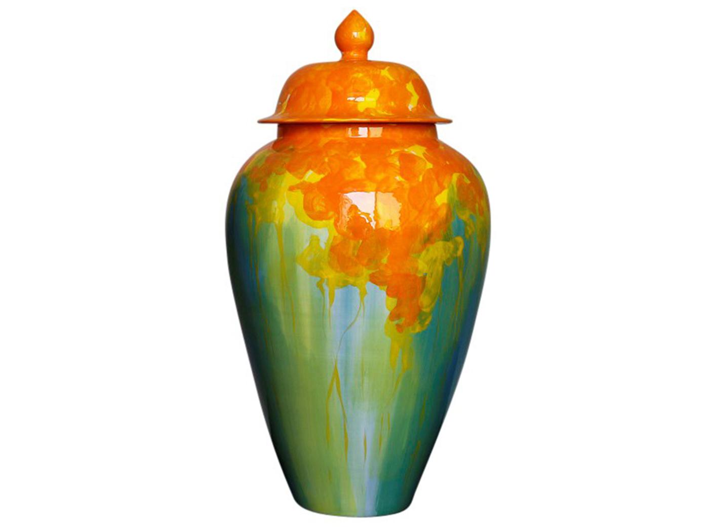 Steinhafels multi color glass vase floral handpainted jar with lid reviewsmspy