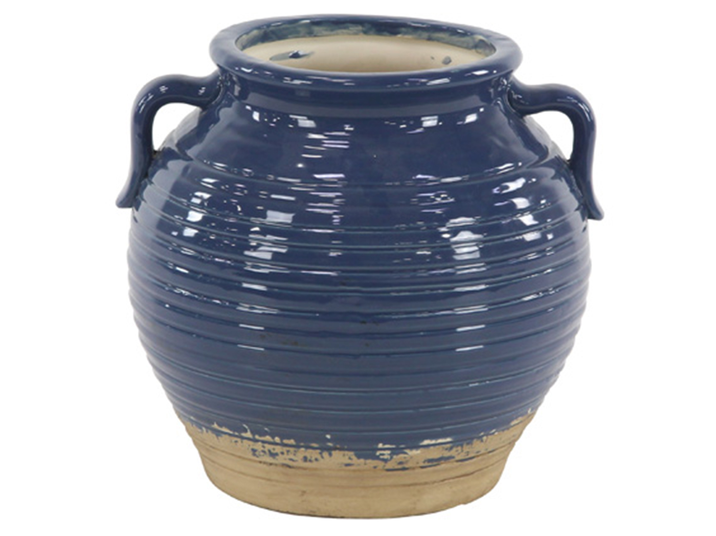"Small Navy Ceramic Pot 14""W x 15""H"