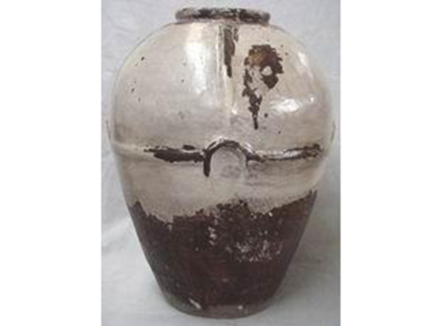 "Brown & Cream Ceramic Vase 23""W x 31""H"