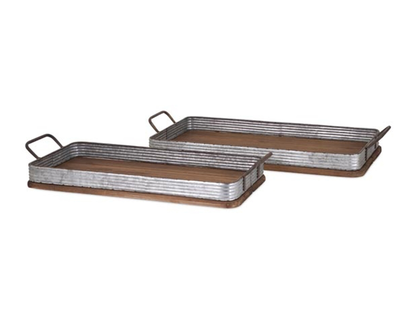 "Set of 2 Decorative Trays 10-13""X24-27""L"