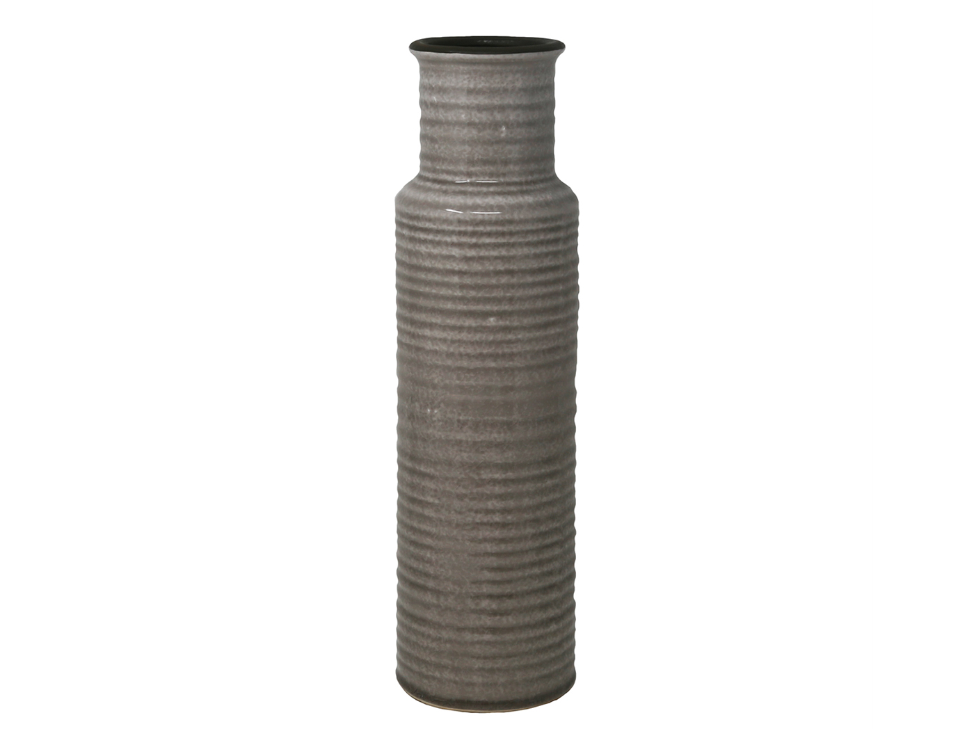 "Large Beige Ribbed Ceramic Vase 4.25x15.5""H"