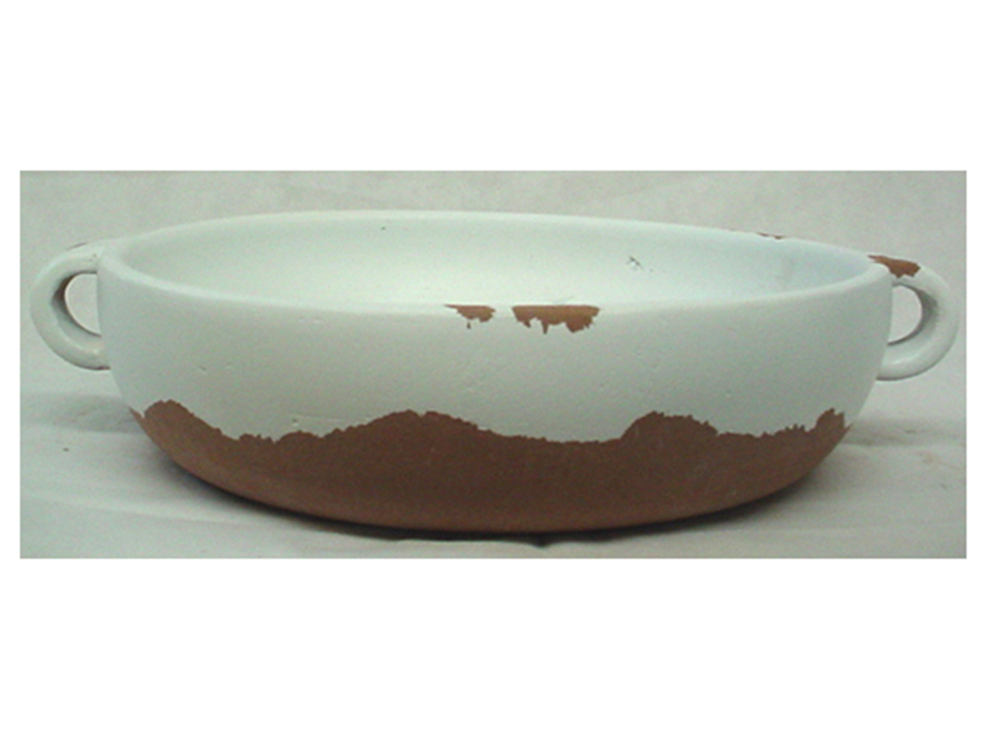 "White and Brown Handled Ceramic Bowl 14""W x 4""H"