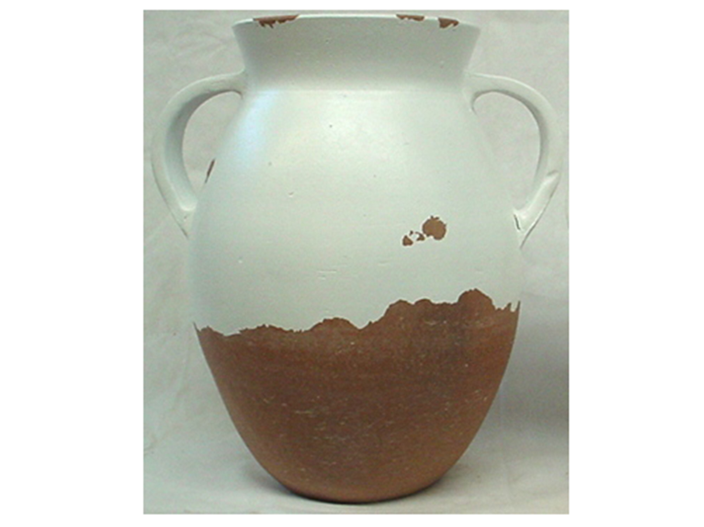 "Large White & Brown Handled Vase 15""W x 18""H"