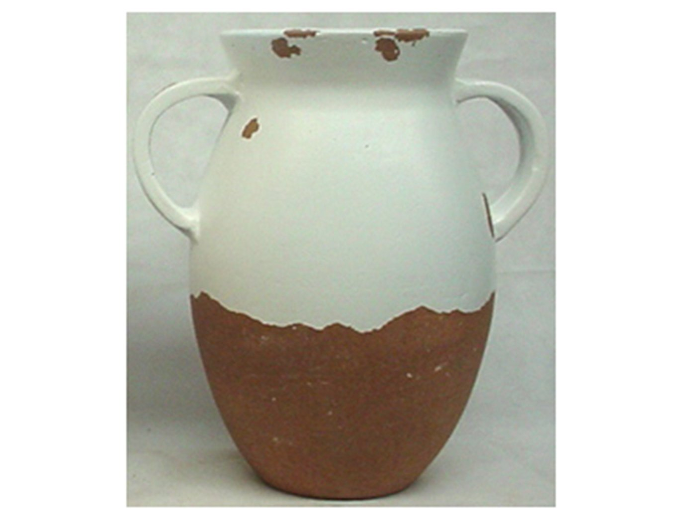 "Medium White & Brown Handled Vase 10""W x 15""H"