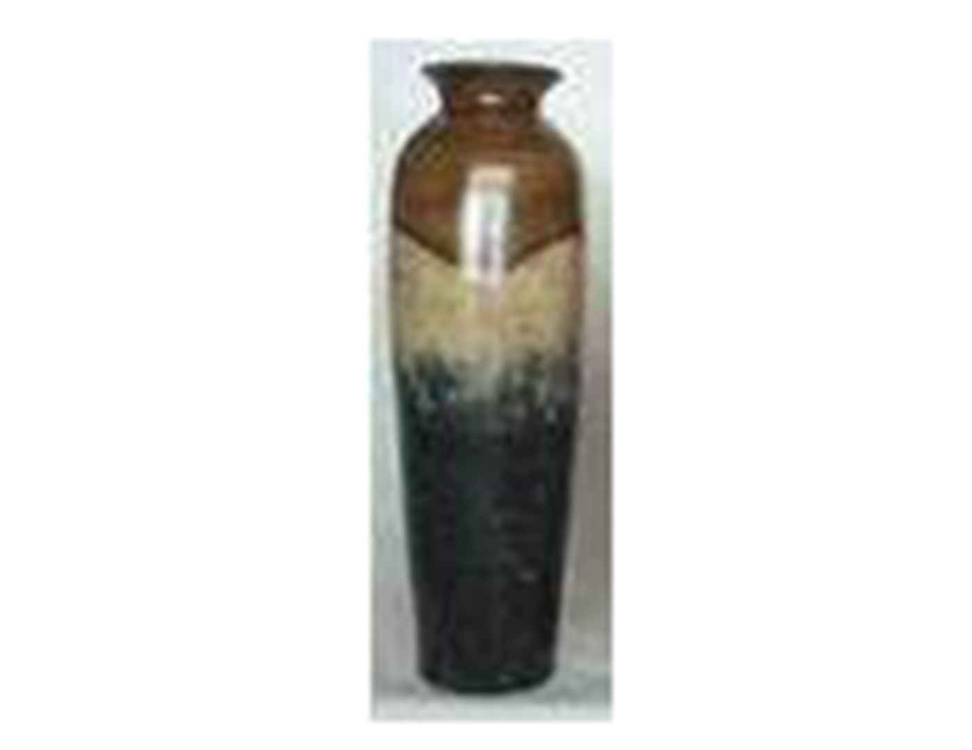 "Large Caramel, Tan, and Black Ceramic Vase 8""W x 24""H"