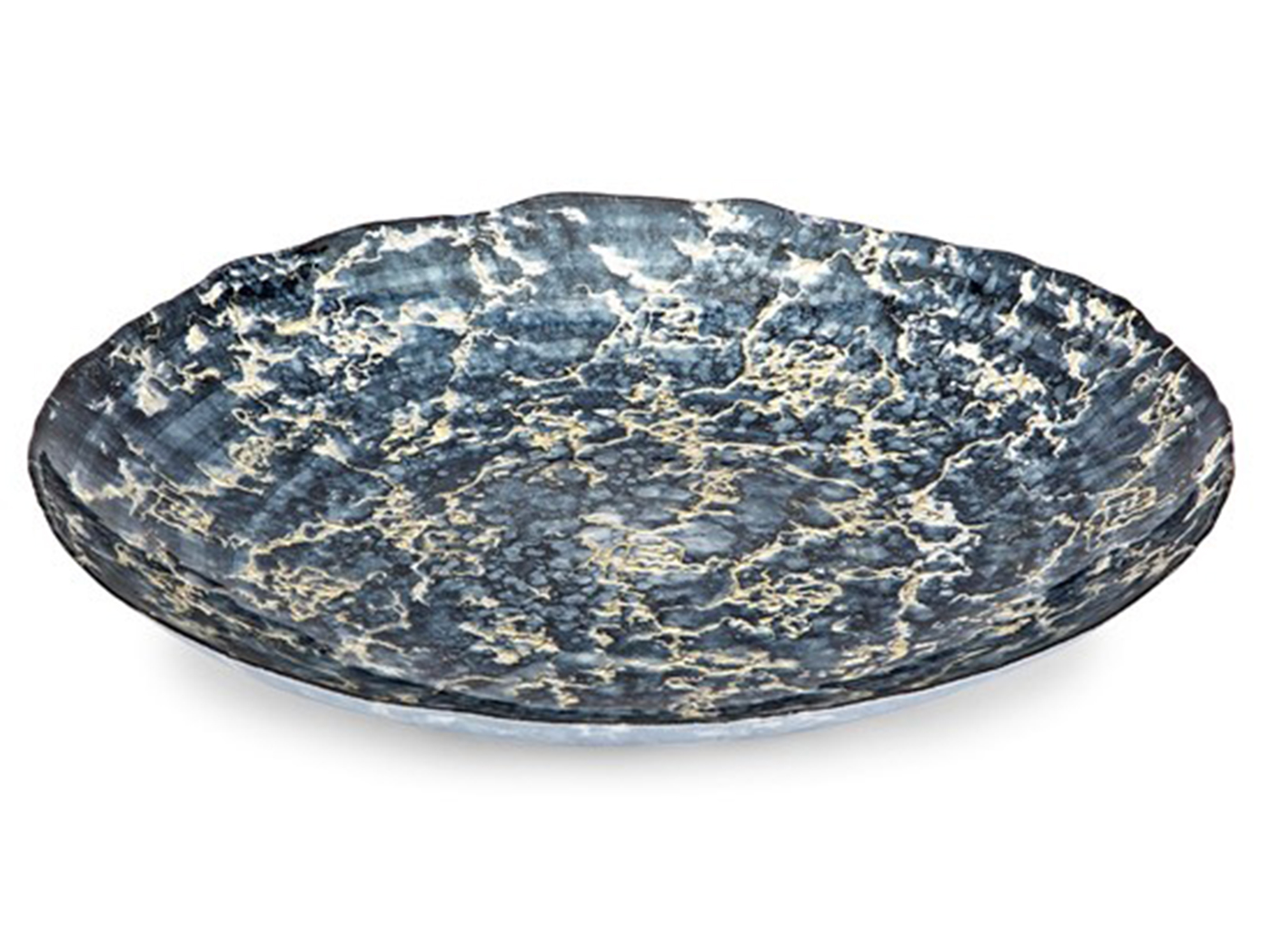 "Blue and Silver Glass Charger 19.5""Dia."
