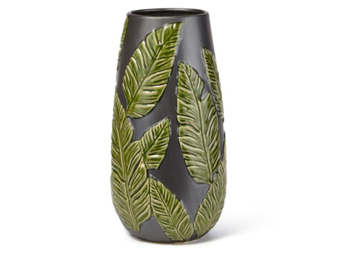"Small Green/Black Leaf Ceramic Vase 8""W x 16""H"