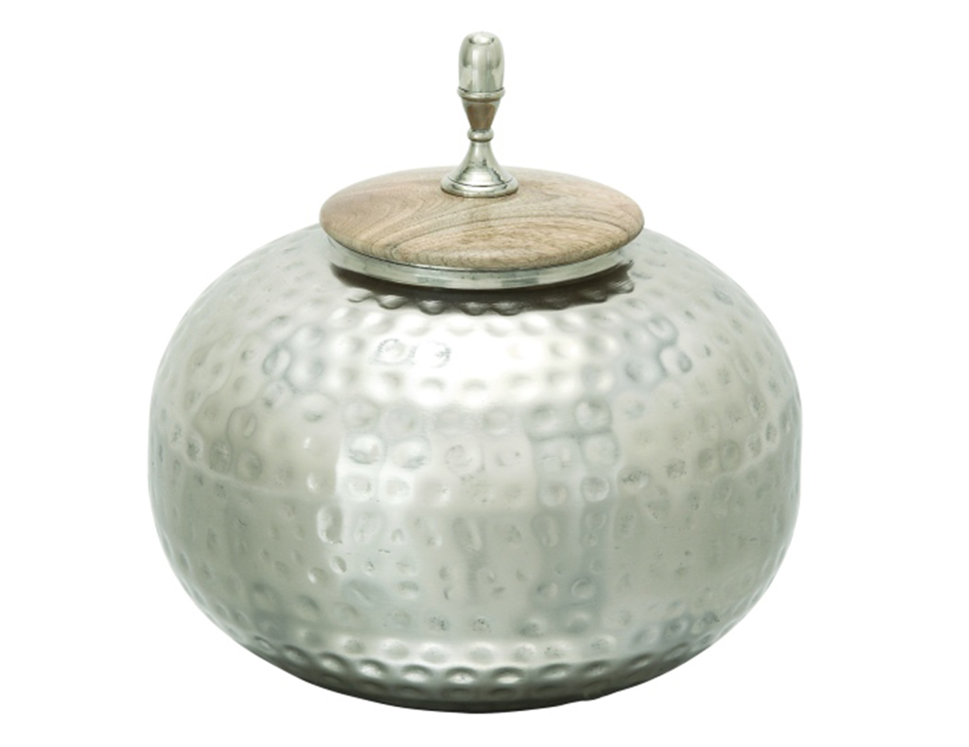 "Dimpled Silver Jar With Lid 11""W x 12""H"