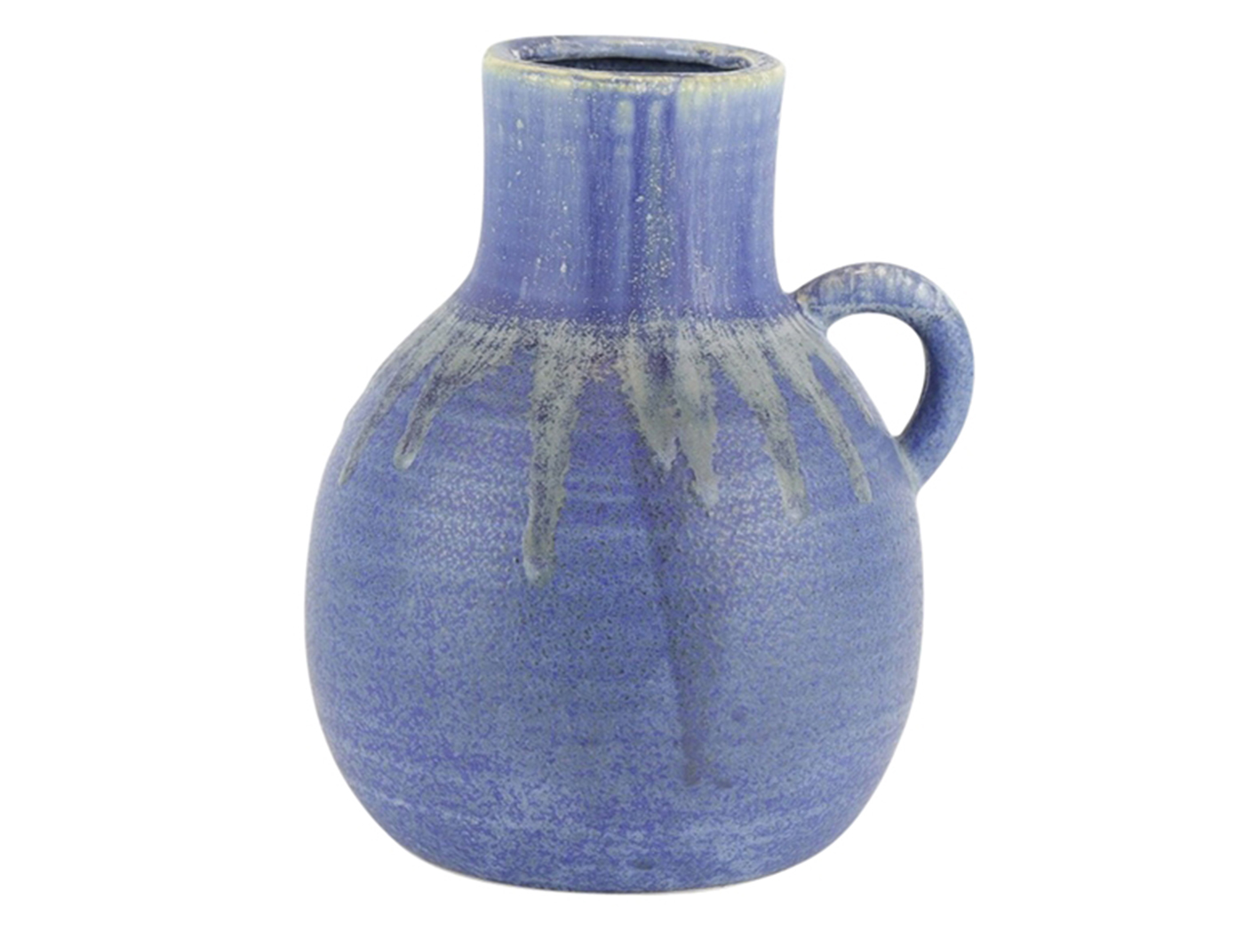 "Small Ceramic Handled Blue Vase 7""W x 9""H"