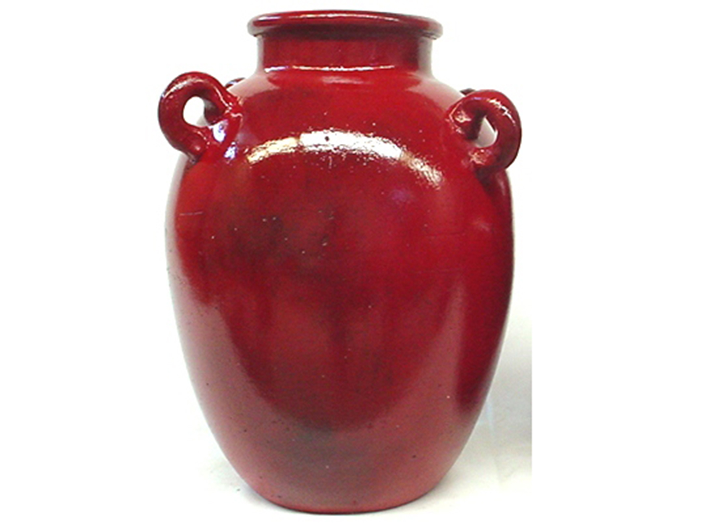 "Large Red Handled Ceramic Vase 12""W x 14""H"