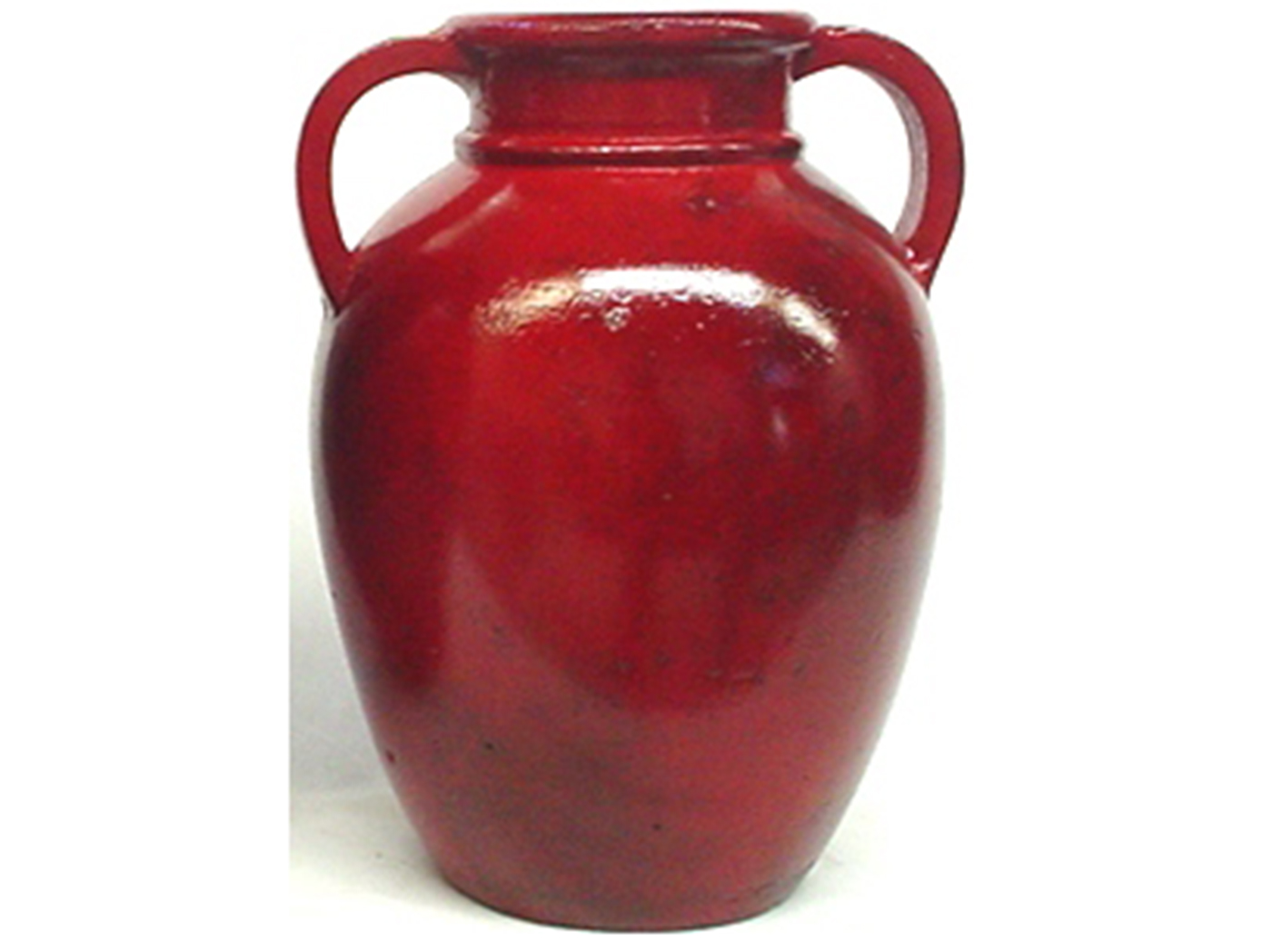 "Medium Red Handled Ceramic Vase 9""W x 12""H"