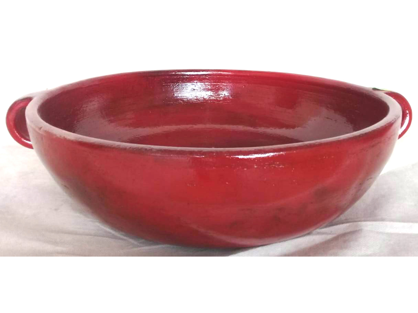"Red Handled Ceramic Bowl 14""W x 4""H"