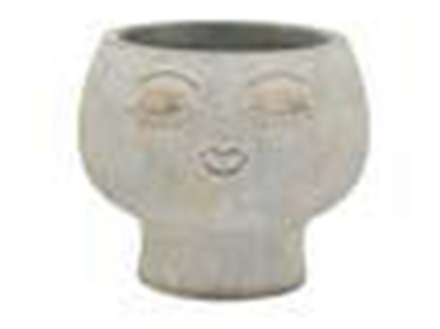 "Small Grey Face Planter 6""W x 5""H"