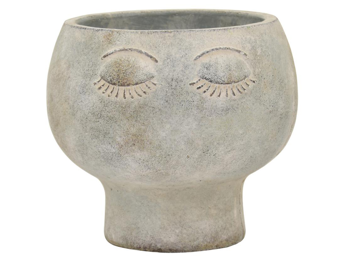 "Large Grey Face Planter 6.75""W x 6""H"