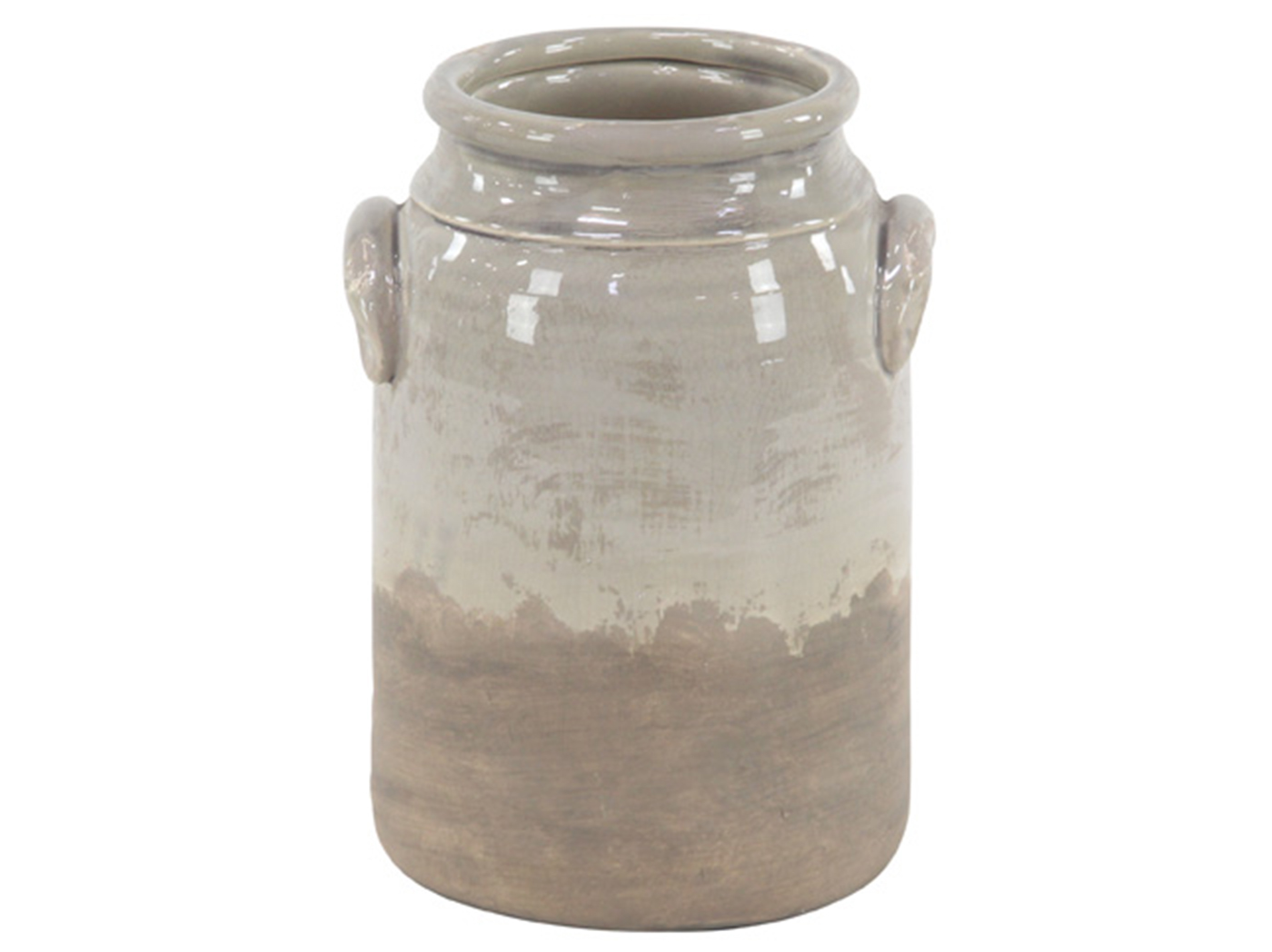 "Large Tan Ceramic Vase 7X13""H"