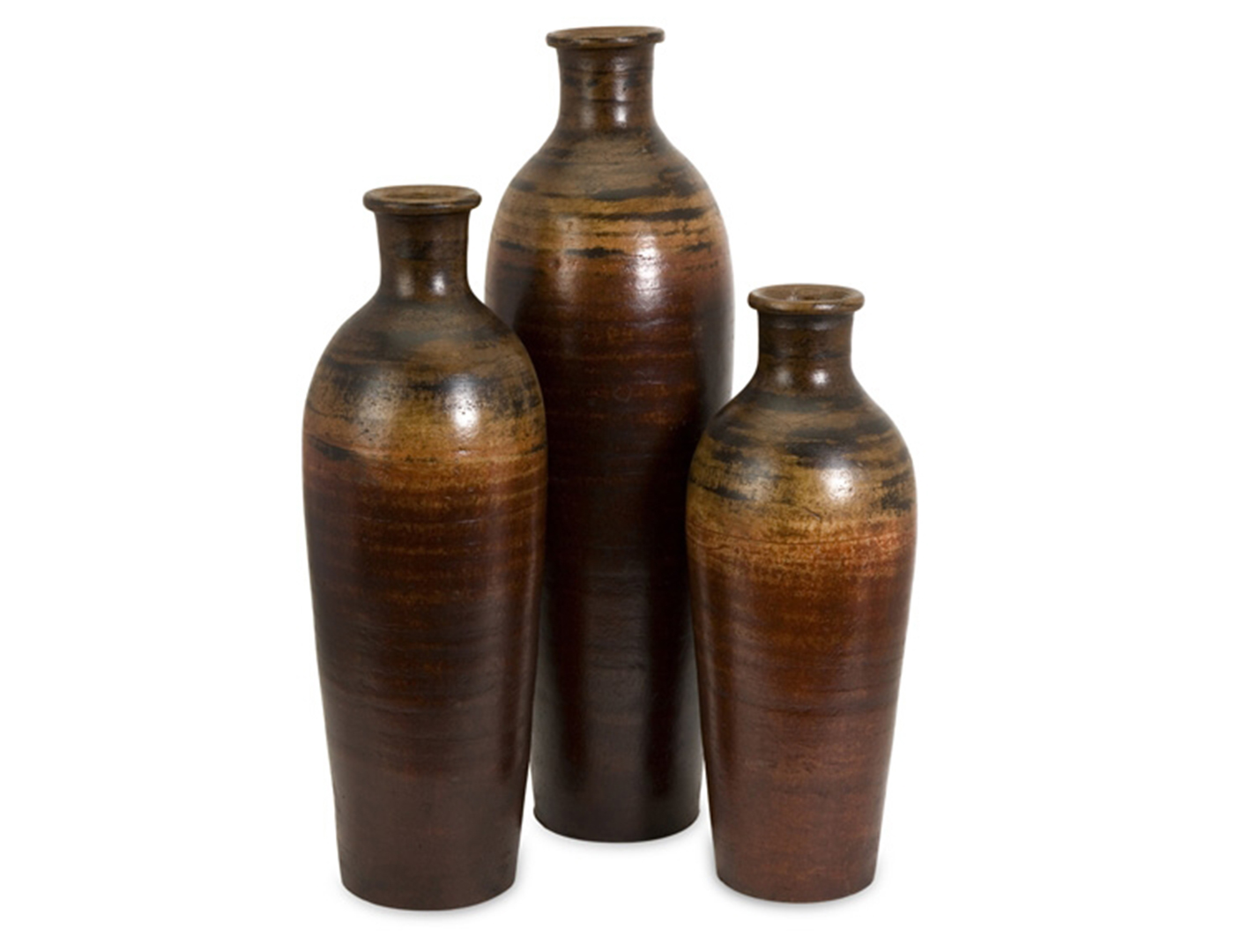 "Set of 3 Fired Clay Benito Vases 7-8""X19/23/27""H"
