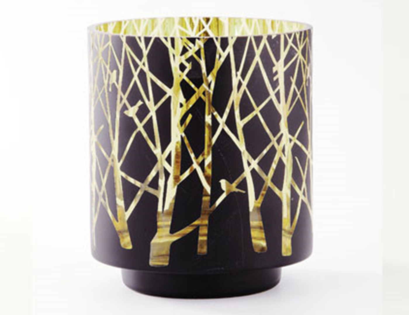 "Small Black and Gold Vase With Branches 6X6.5""H"