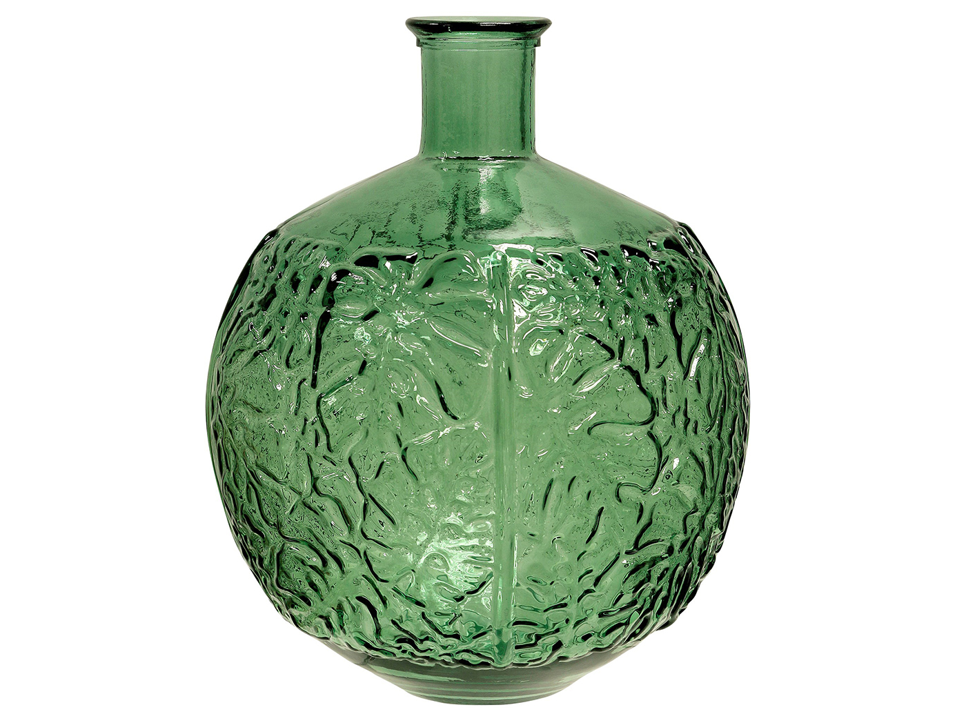 "Green Embossed Glass Vase 12""W x 17""H"