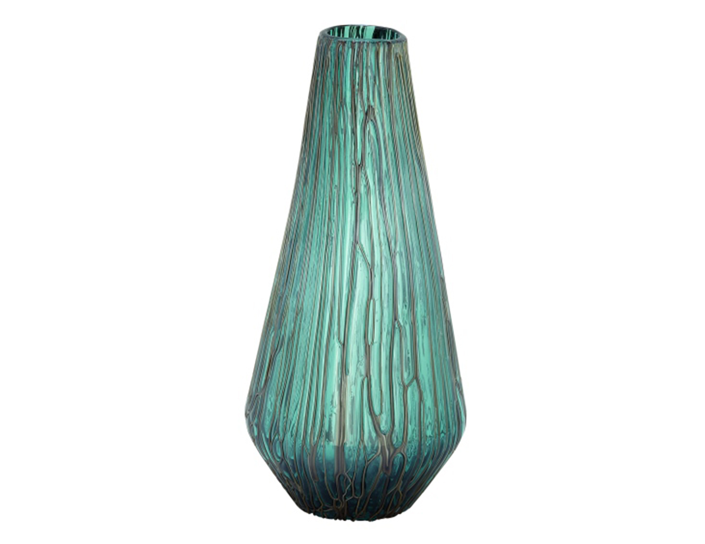 "Teal Glass Drip Vase 8""W x 18""H"