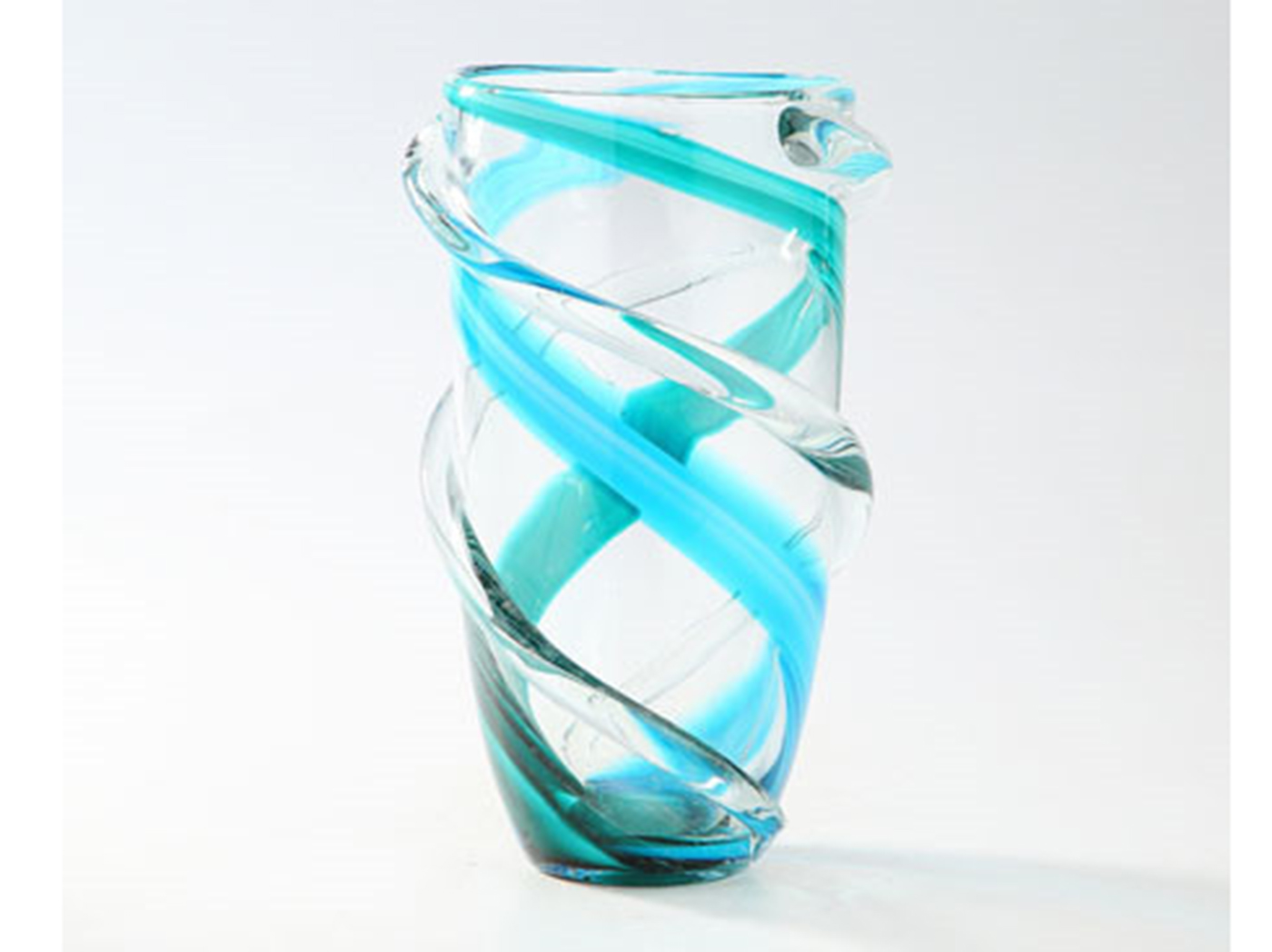 "Small Blue and Clear Twist Glass Vase 6""W x 10""H"
