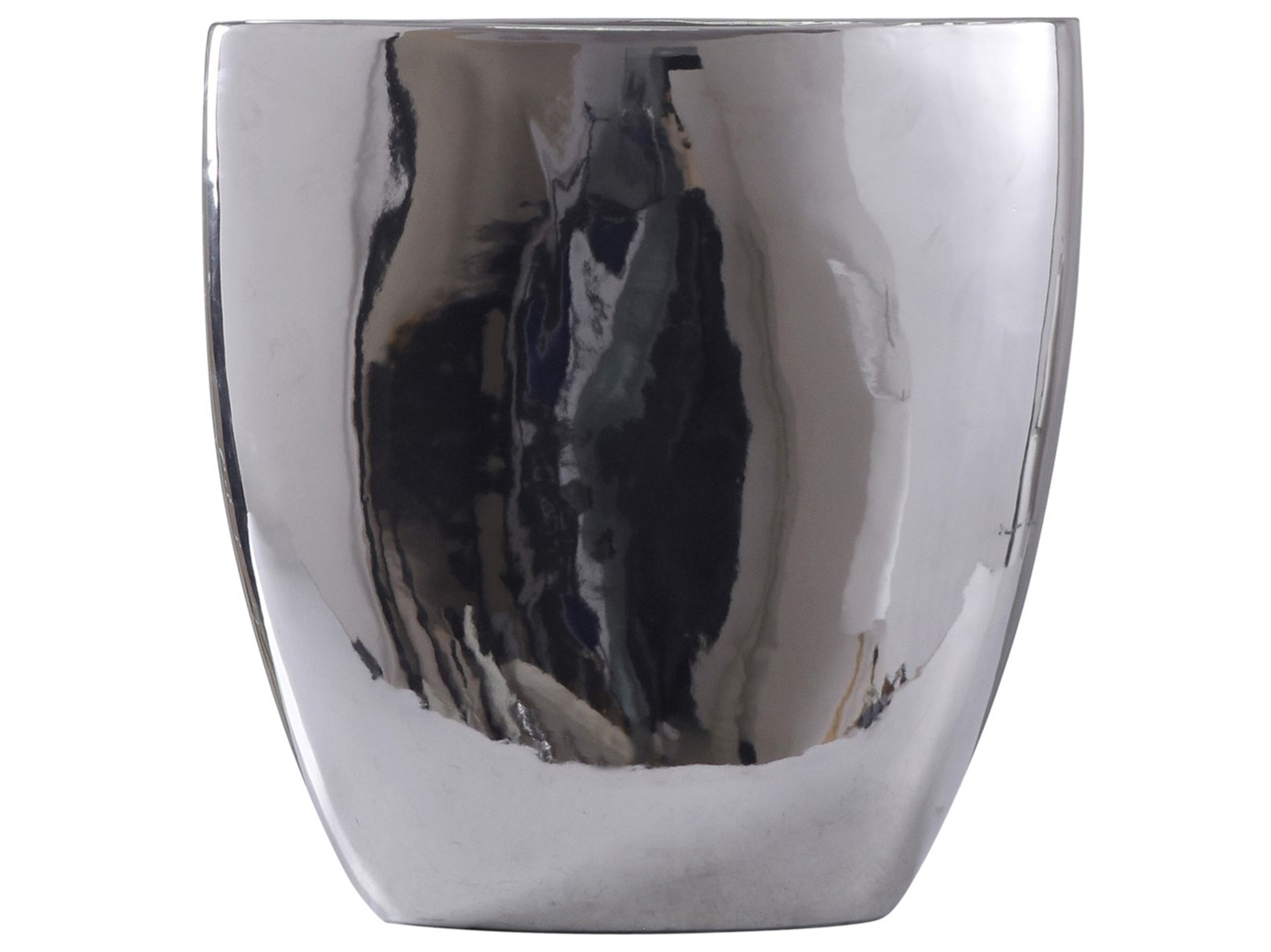 "Small Chrome Finish Ceramic Vase 12""W x 12""H"