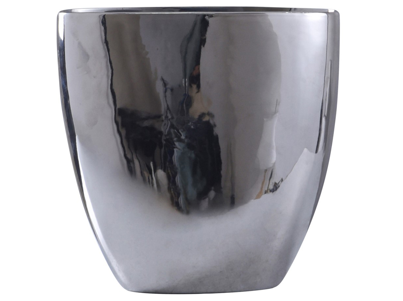 "Large Chrome Finish Ceramic Vase 15""W x 16""H"