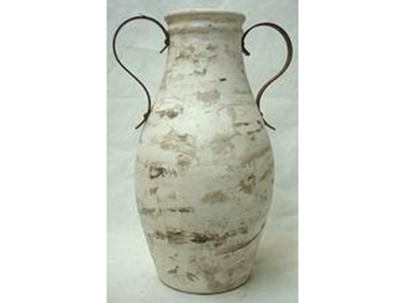 "Large Brown & White Handled Ceramic Floor Vase 15""W x 37""H"