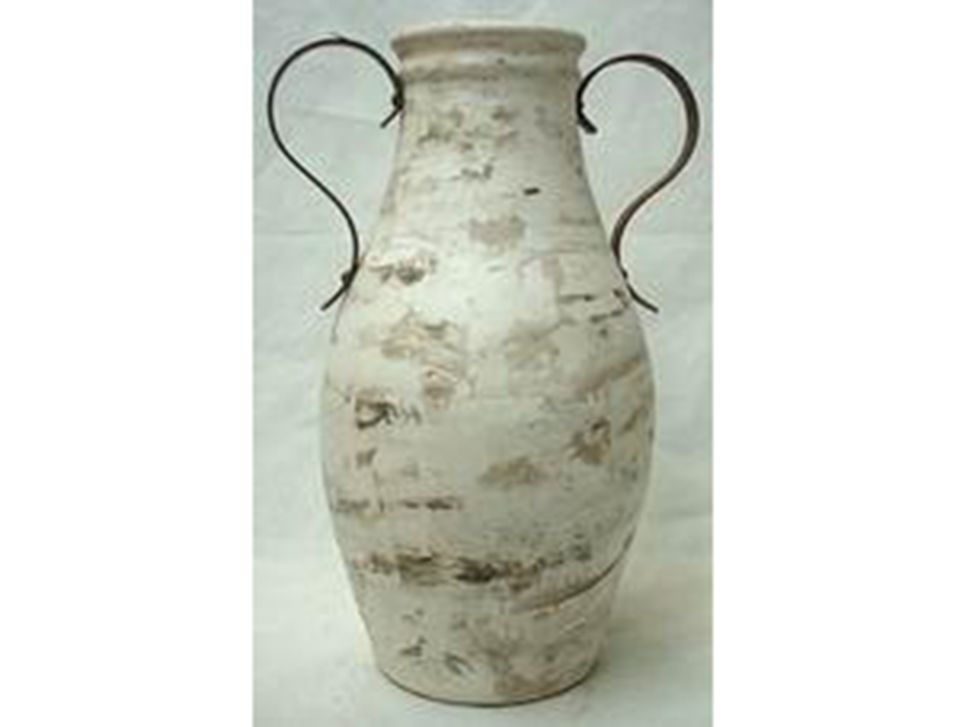 "Medium Brown & White Handled Floor Vase 13""W x 32""H"