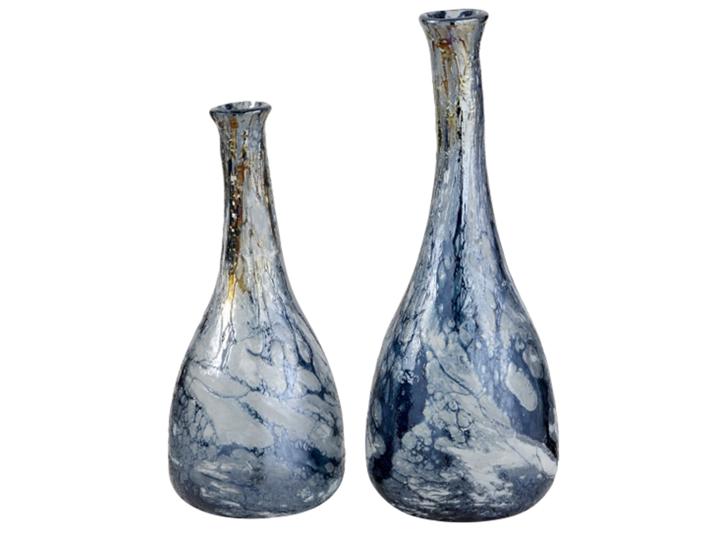 "Set/2 Blue Glass Vases 16""H / 20""H"
