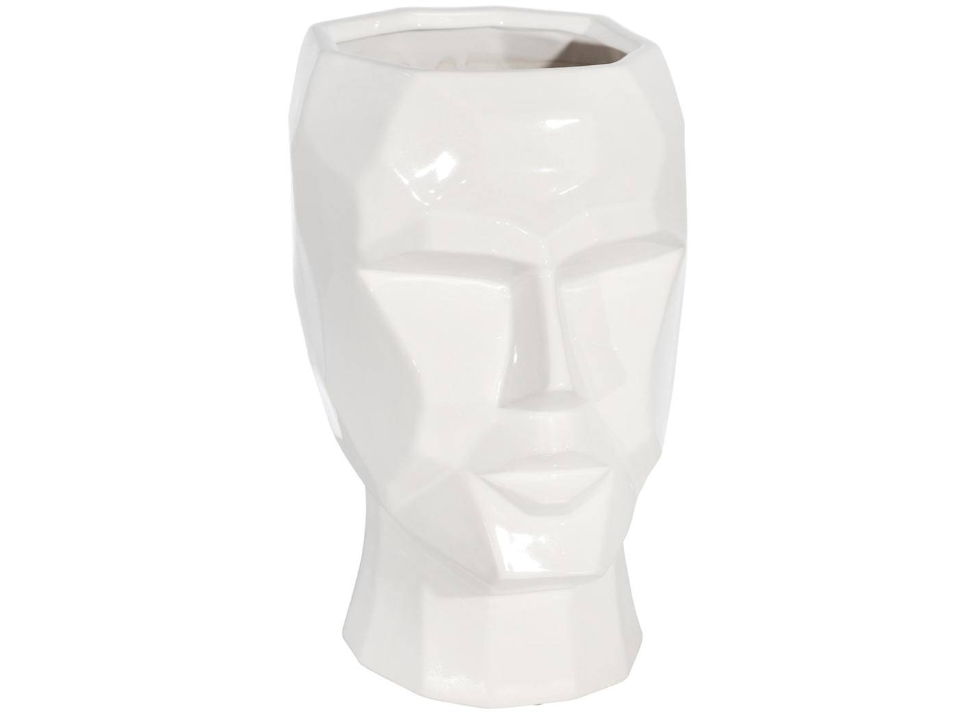"White Ceramic Face Planter 9X8X13""H"