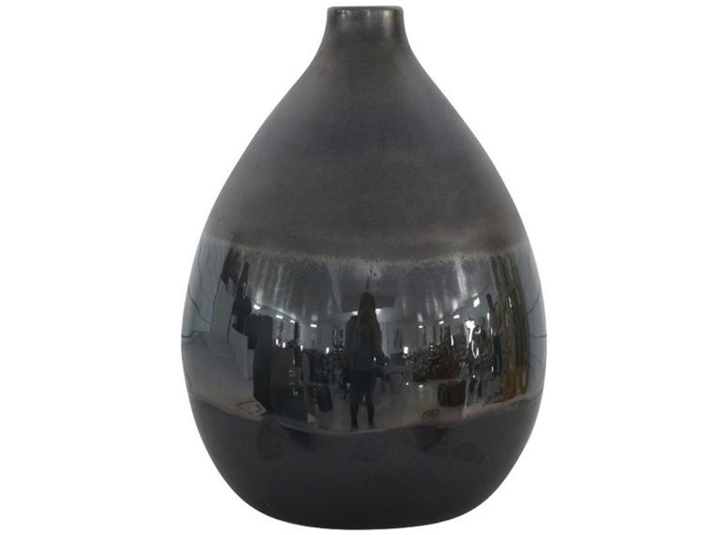 "Small Charcoal Ceramic Vase 9""W x 11.75""H"