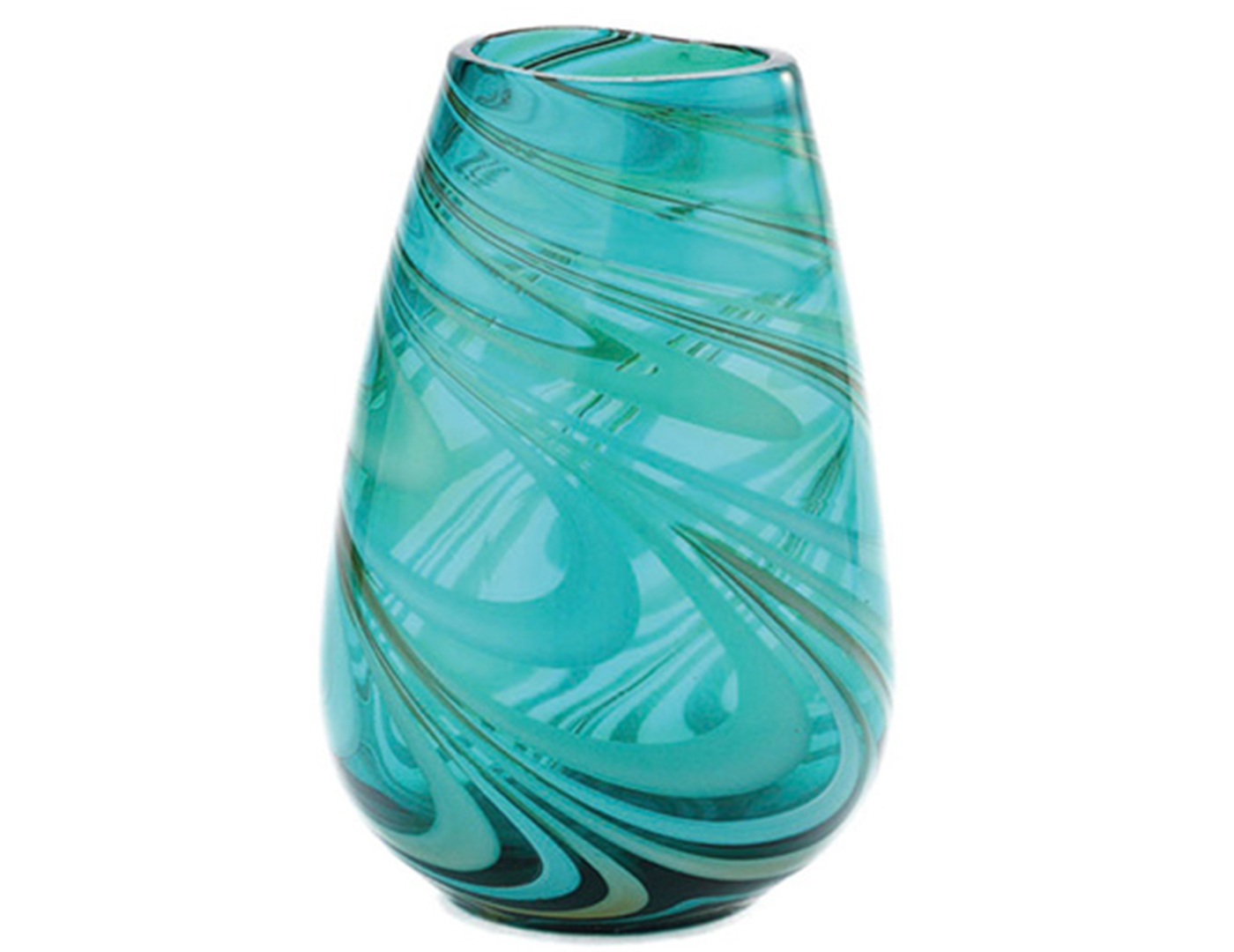 "Green Swirl Glass Vase 10.5""H 7.5""D"