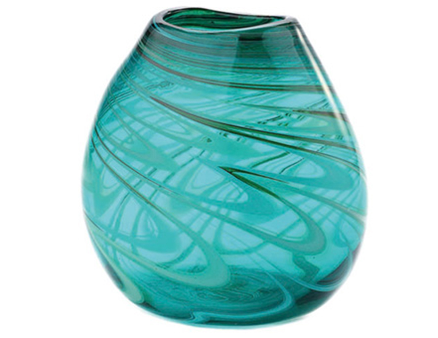 "Wide Green Swirl Glass Vase 8.5""L 5.5""W 8.5""H"