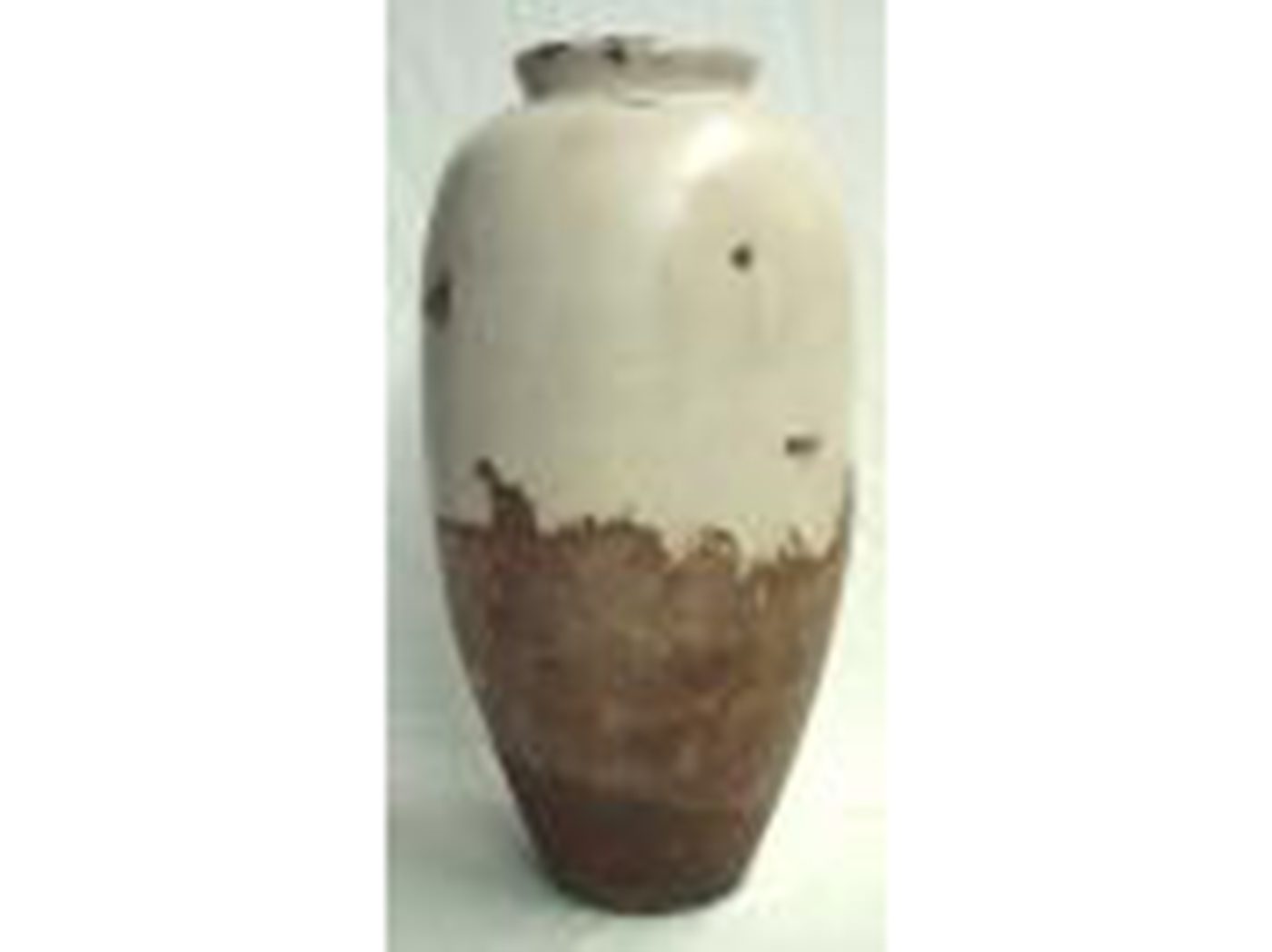 "Medium Brown & Cream Floor Vase 13""W x 28""H"