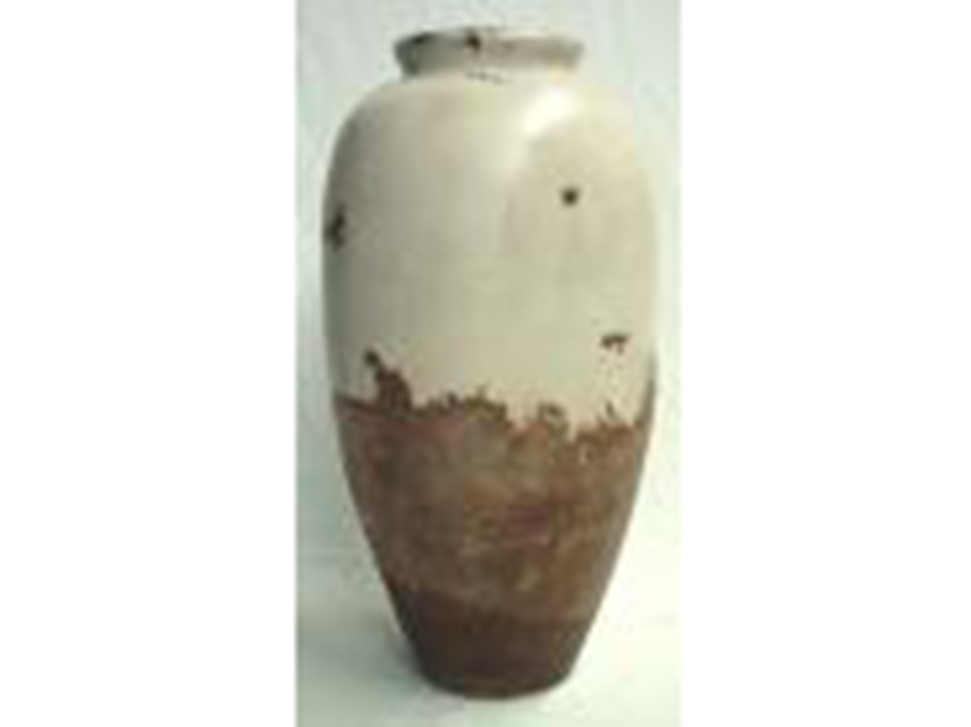 "Large Brown & Cream Ceramic Floor Vase 15""W x 33""H"