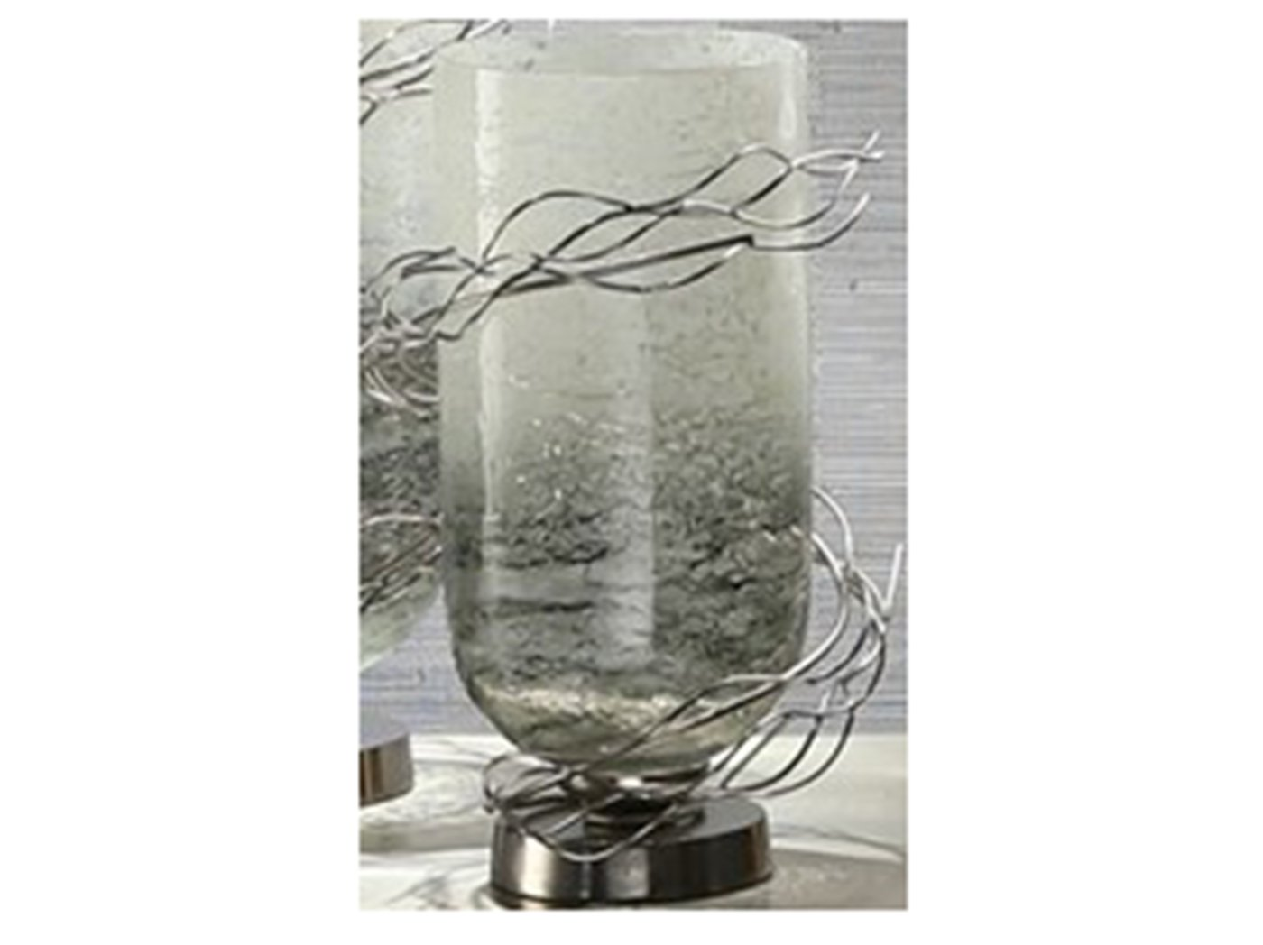 "Small Glass and Metal Wire Wrapped Vase 10""W x 14""H"