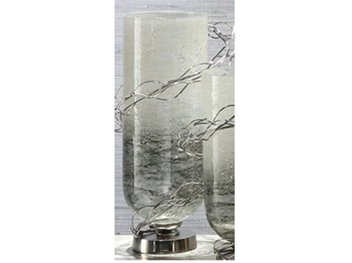 "Large Glass and Metal Wire Wrapped Vase 9""W x 17""H"