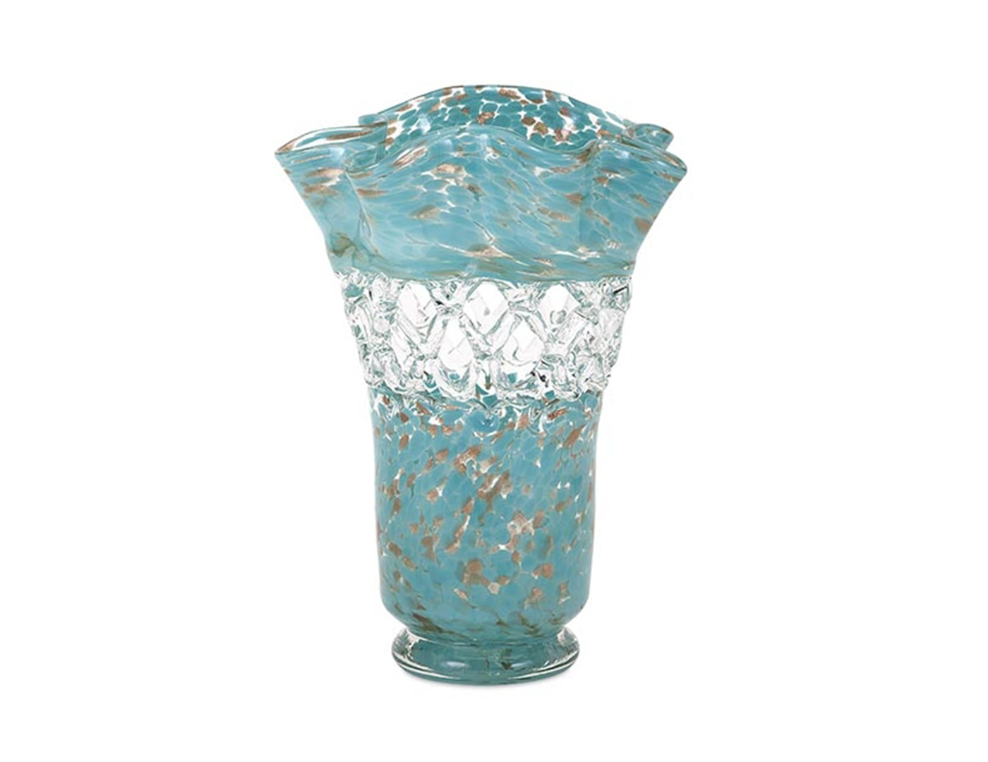 "Aqua Web Glass Vase 11.75X14.5""H"
