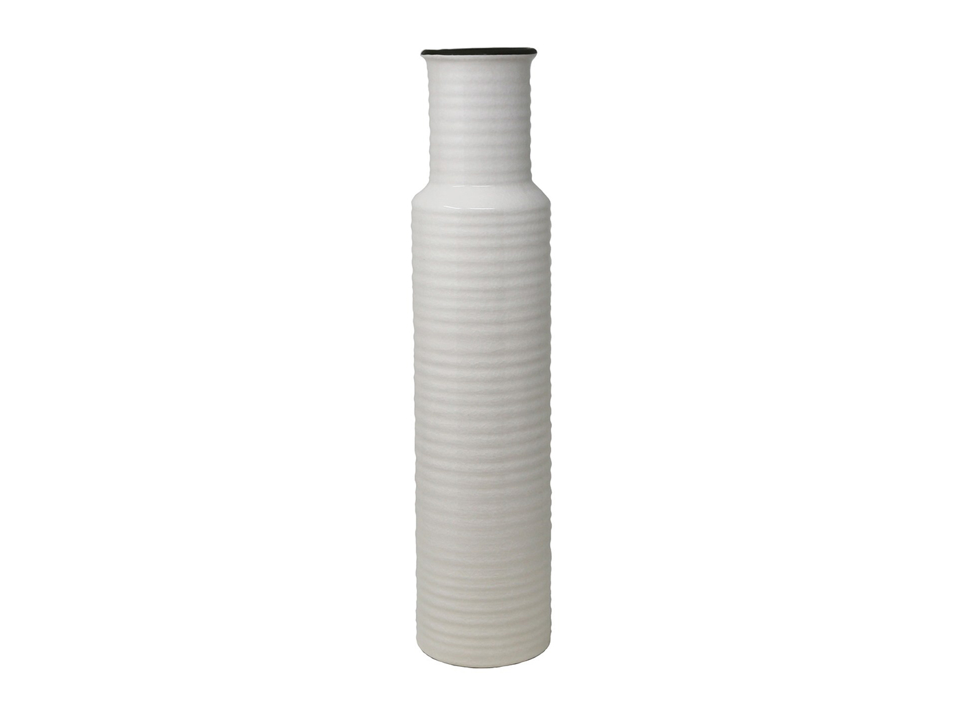 "White Ribbed Ceramic Vase 4.25""W x 18.75""H"
