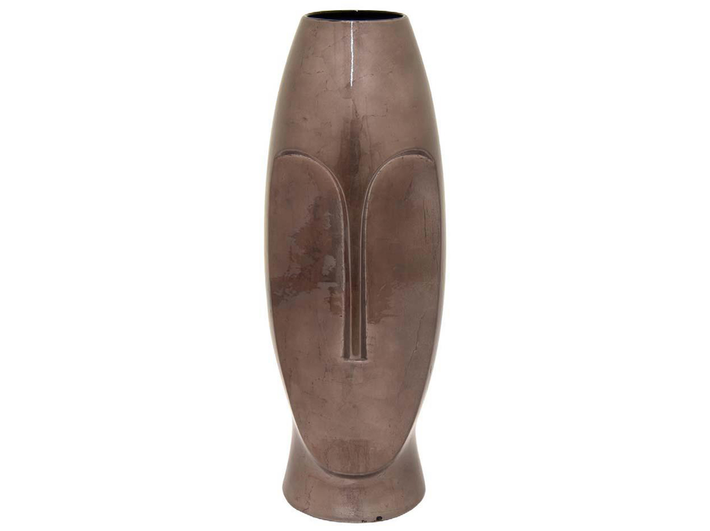 "Ceramic Metallic Brown Face Vase 7""W x 20""H"
