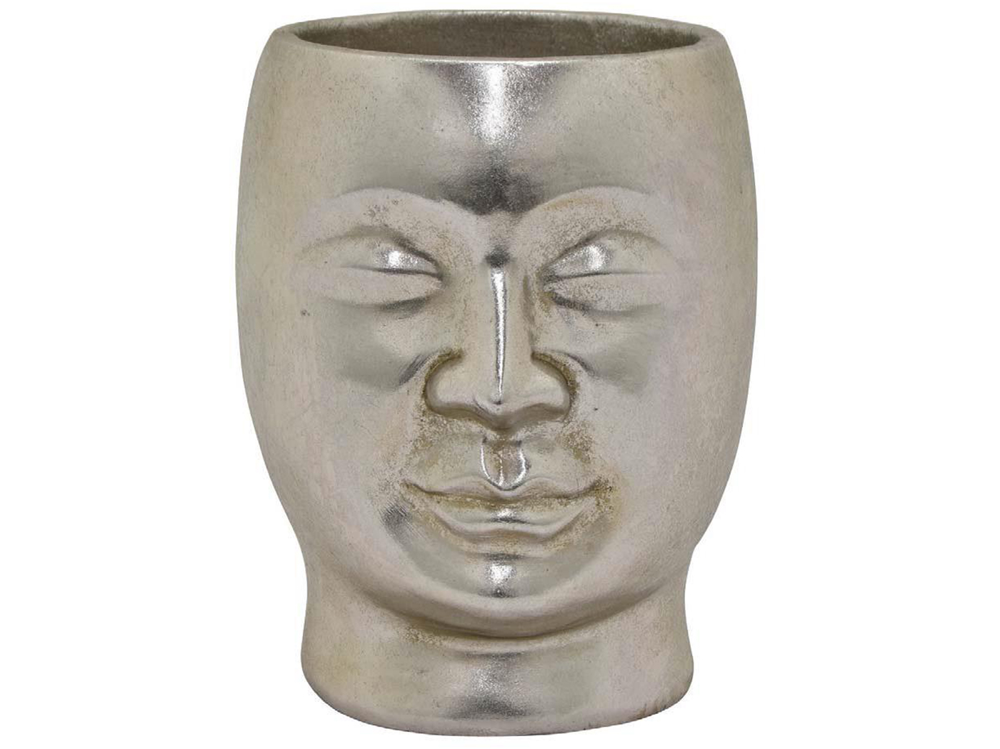 "Silver Face Vase 7""W x 8.5""H"