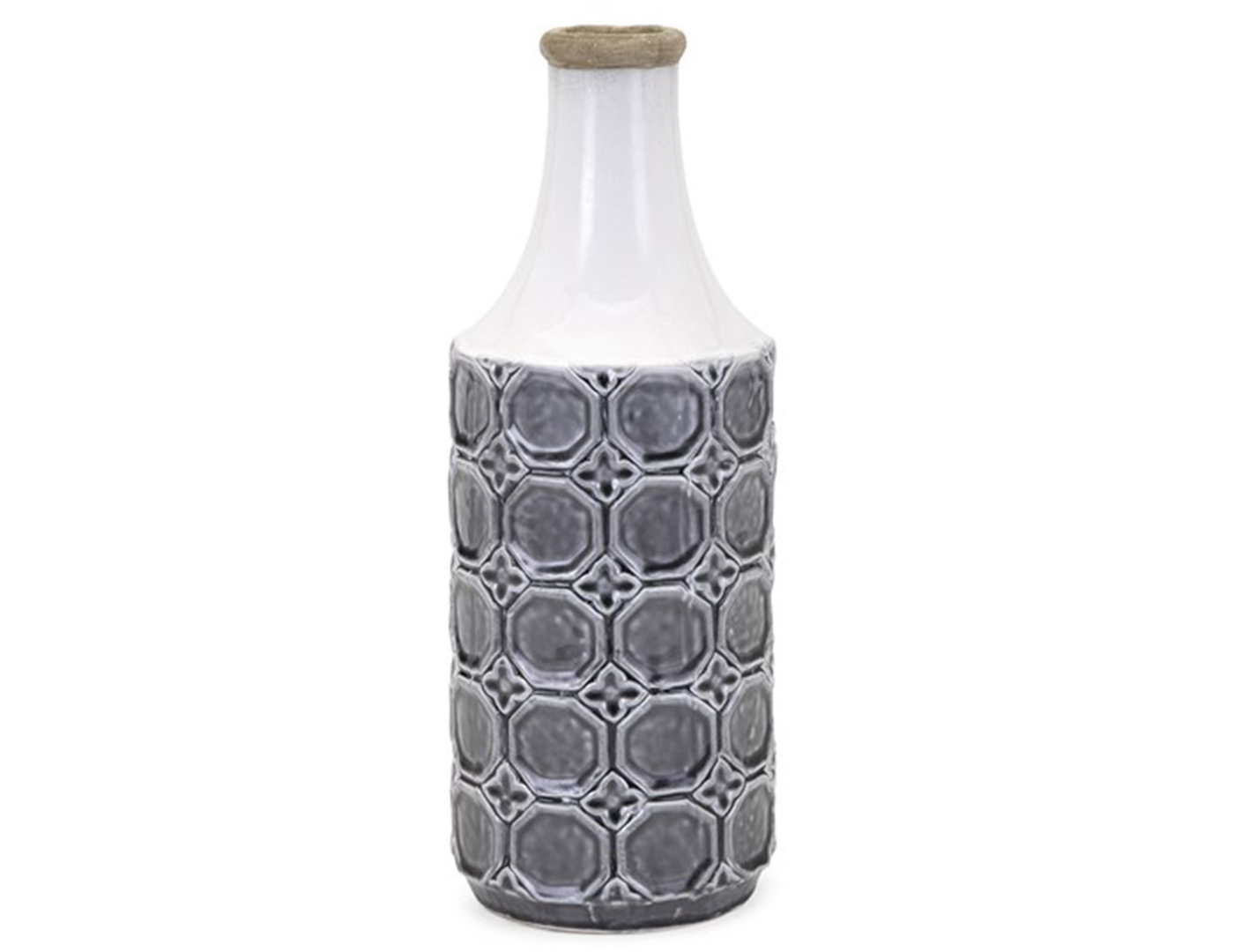 White and Grey Circles Tall Vase 6X15""