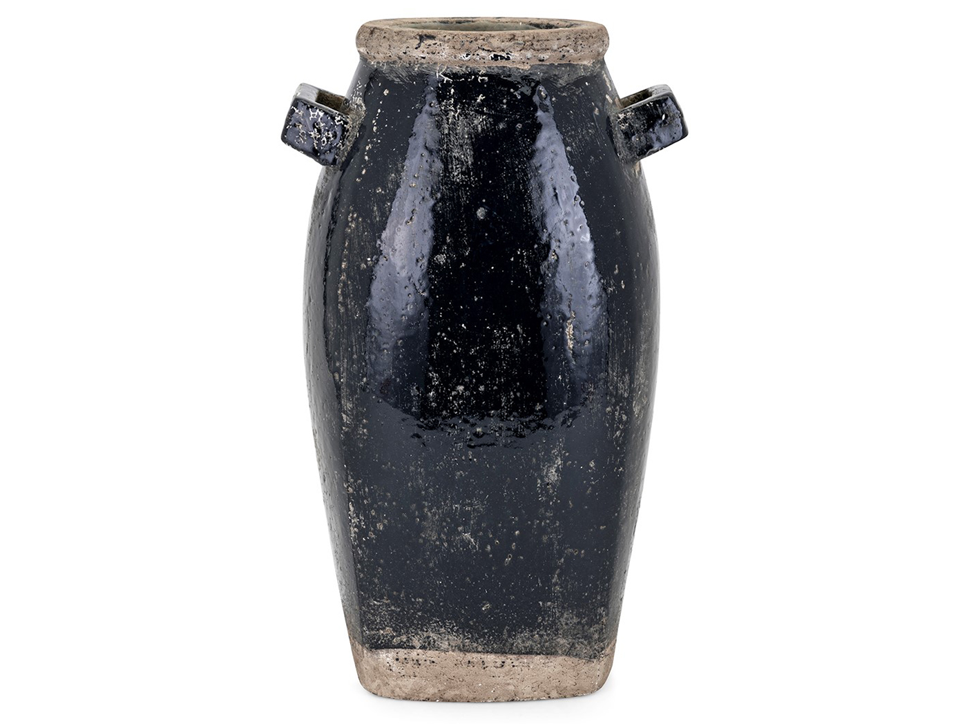 "Large Black Terracotta Vase 9""W x 15.25""H"