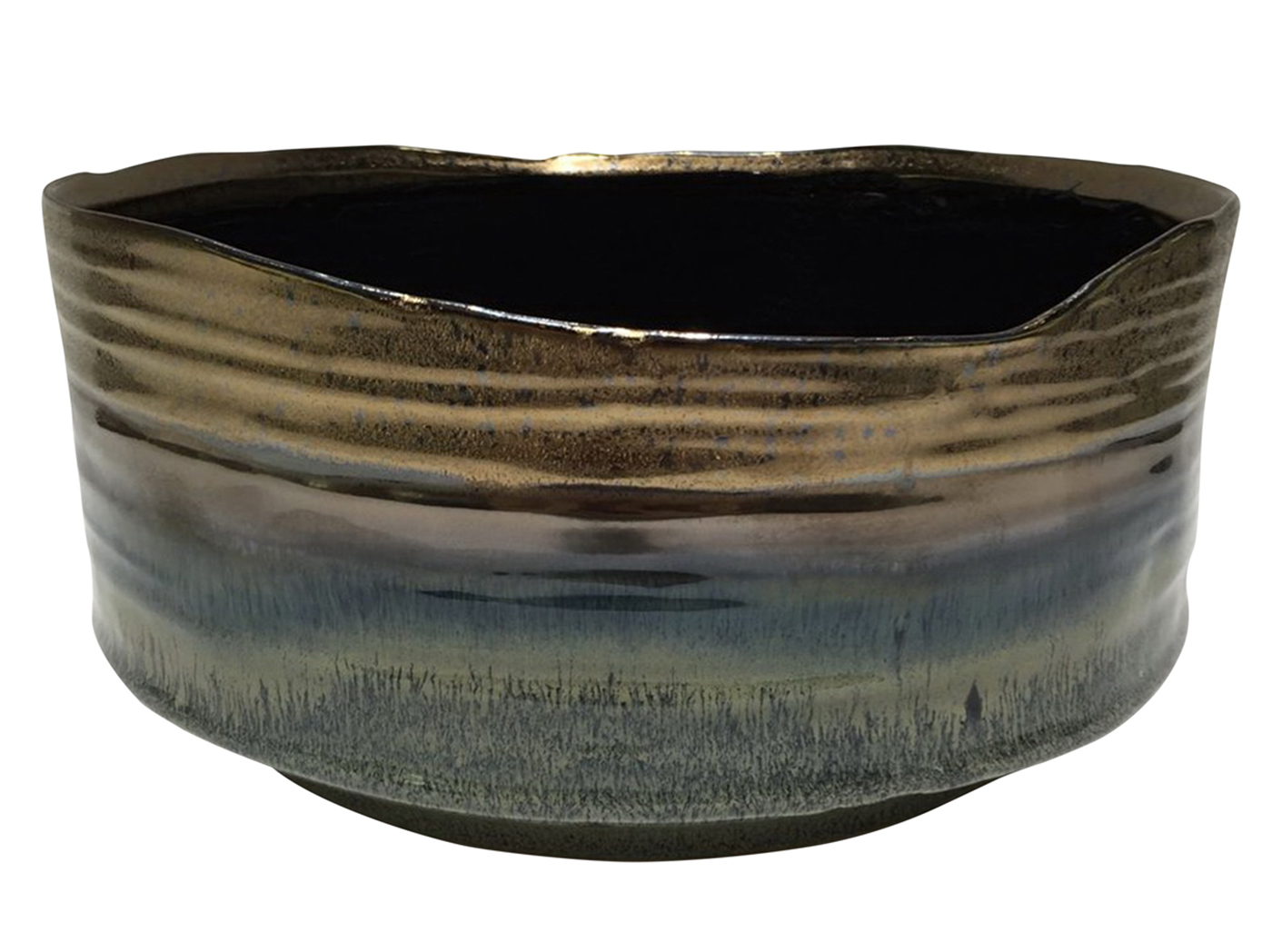 "Bronze and Blue Ceramic Planter 11""W x 5""H"