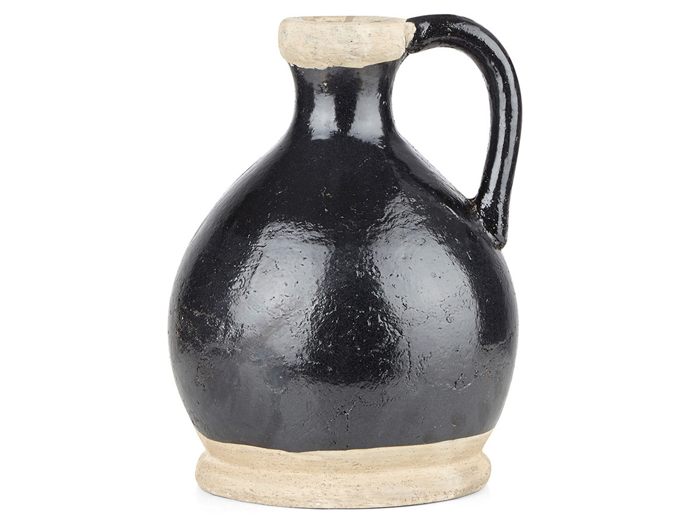 "Large Black and Cream Vase with Handle 9""W x 13""H"