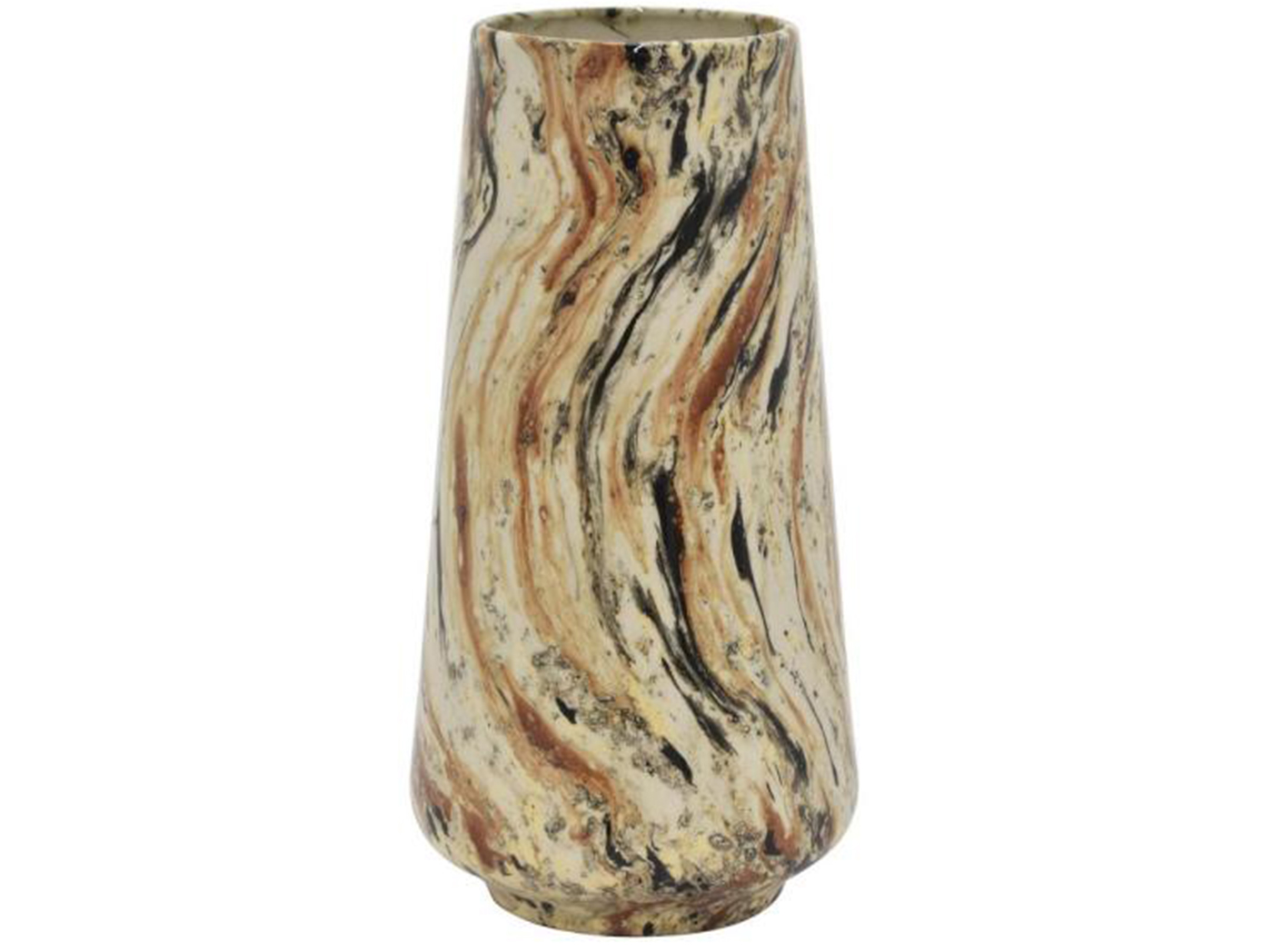"Medium Mocha Swirl Ceramic Vase 6.25""W x 12.25""H"