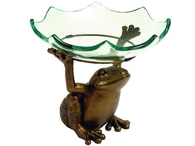 "Frog Holding Glass Bowl 12X10""H"